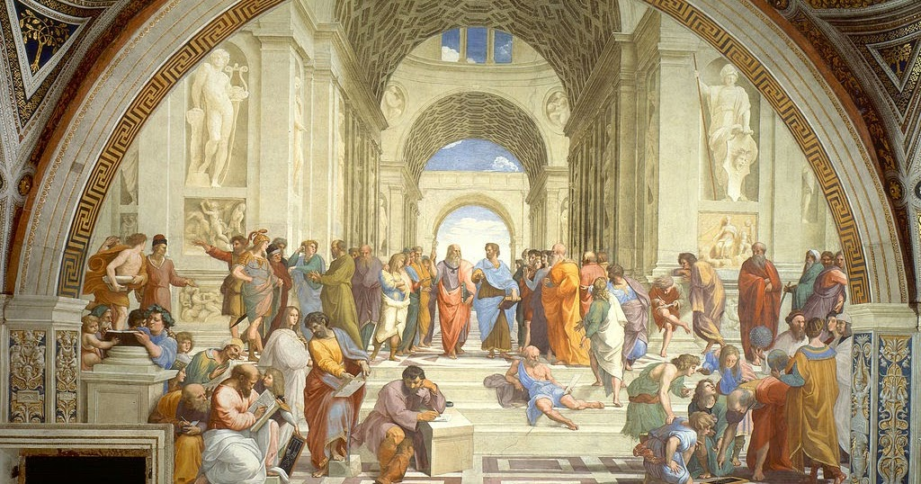 La escuela de Atenas, Rafael Sanzio, 1510-1511, realizada en el renacimiento.