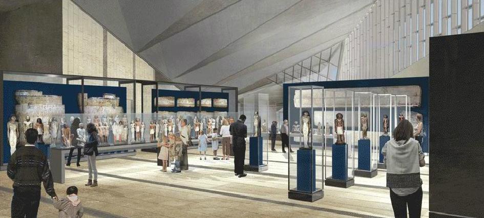 """Imágenes en 3D del proyecto del """"Gran Museo Egipcio""""."""