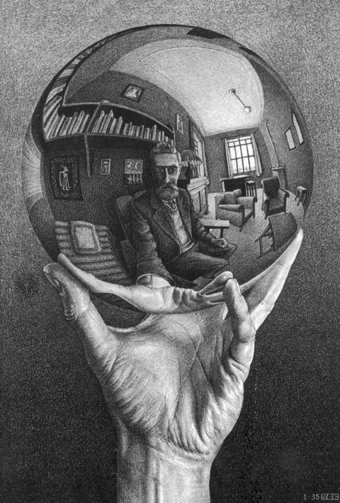 Mano con esfera reflectante, 1935.