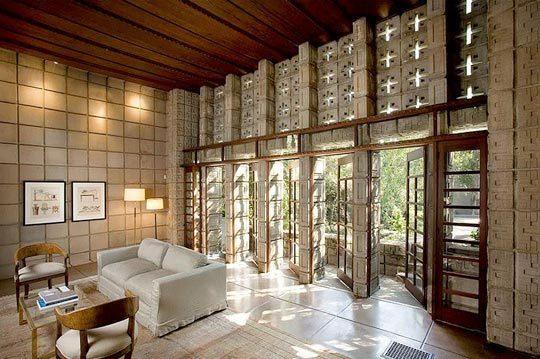 Casa Charles Ennis, Frank Lloyd Wright, vista interior.