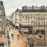 """""""Rue Saint-Honoré por la tarde. Efecto de lluvia"""", Camille Pissarro, 1897."""