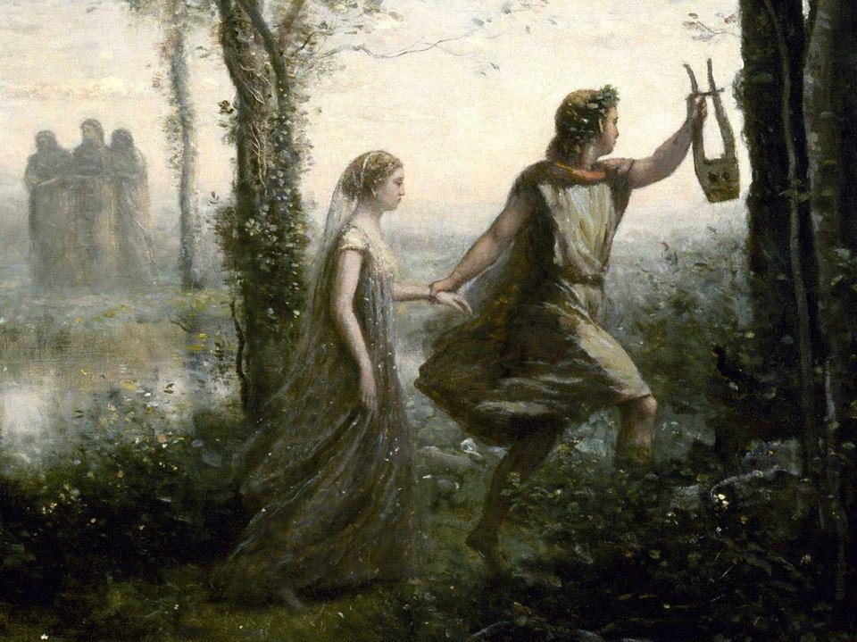 Orfeo conduciendo a Eurídice.