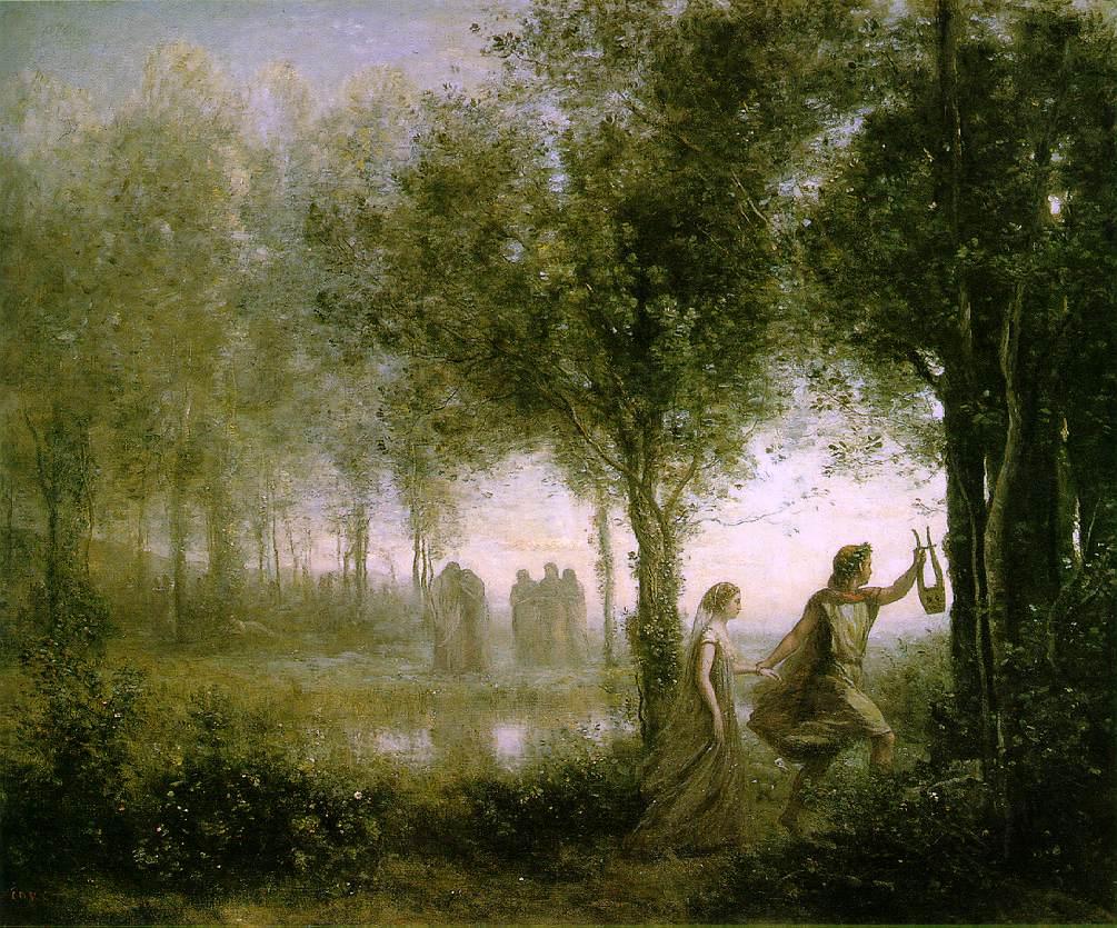 Orfeo conduciendo a Eurídice fuera del infierno.