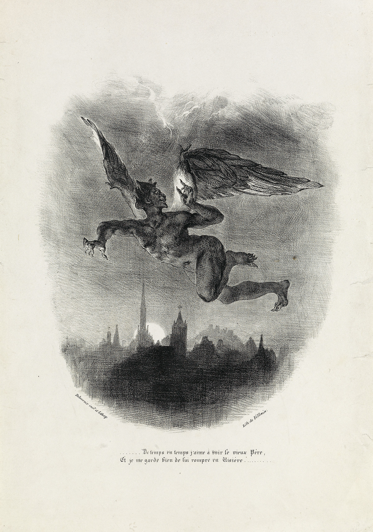 """""""Méphistophélès dans les airs"""", Eugène Delacroix."""