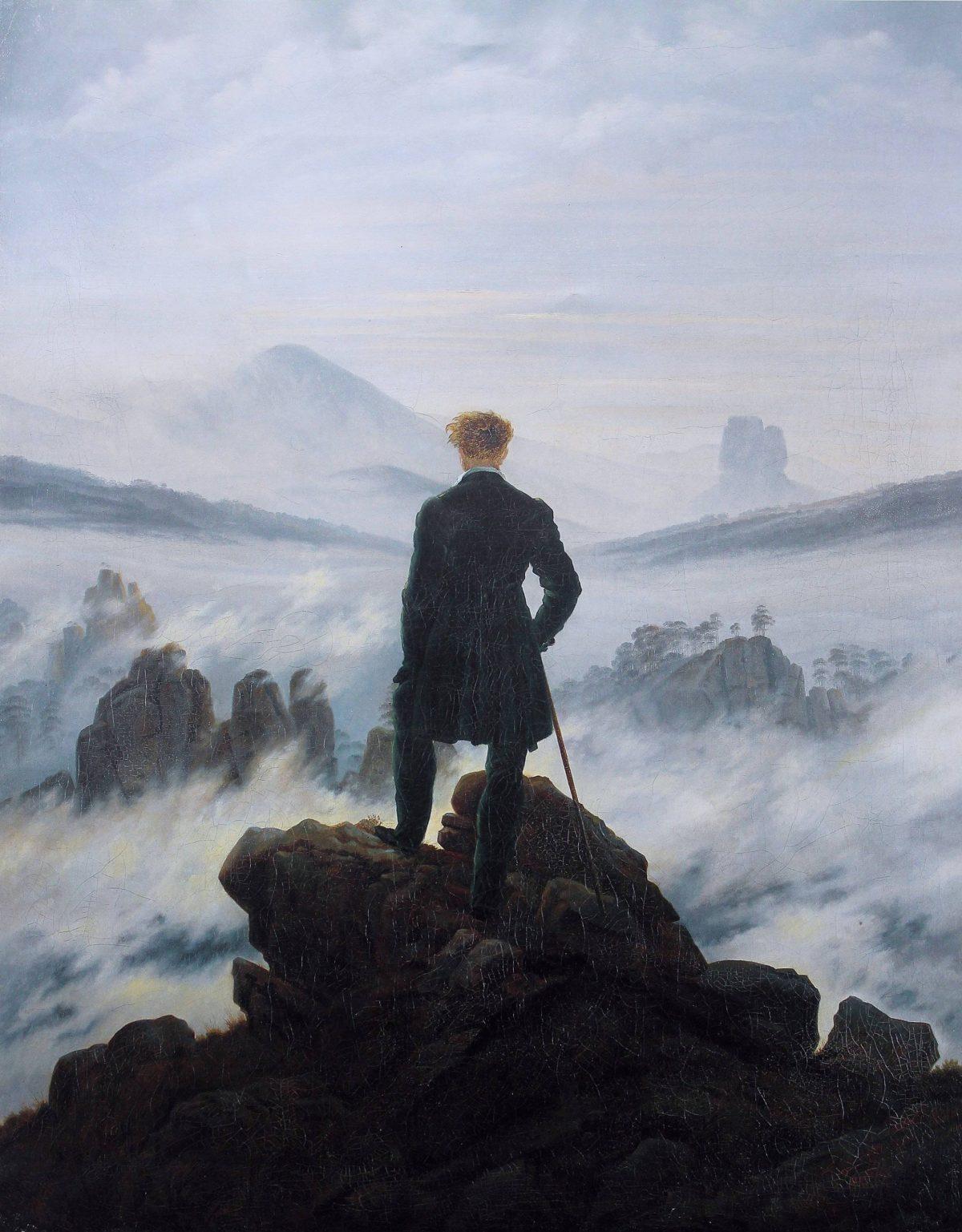 El caminante sobre el mar de nubes, Caspar David Friedrich.